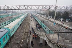 Kazakstanilaisella juna-asemalla