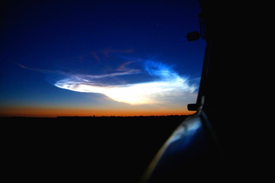 Sojuz-raketin polttoainejäämät kivasti taivaalla