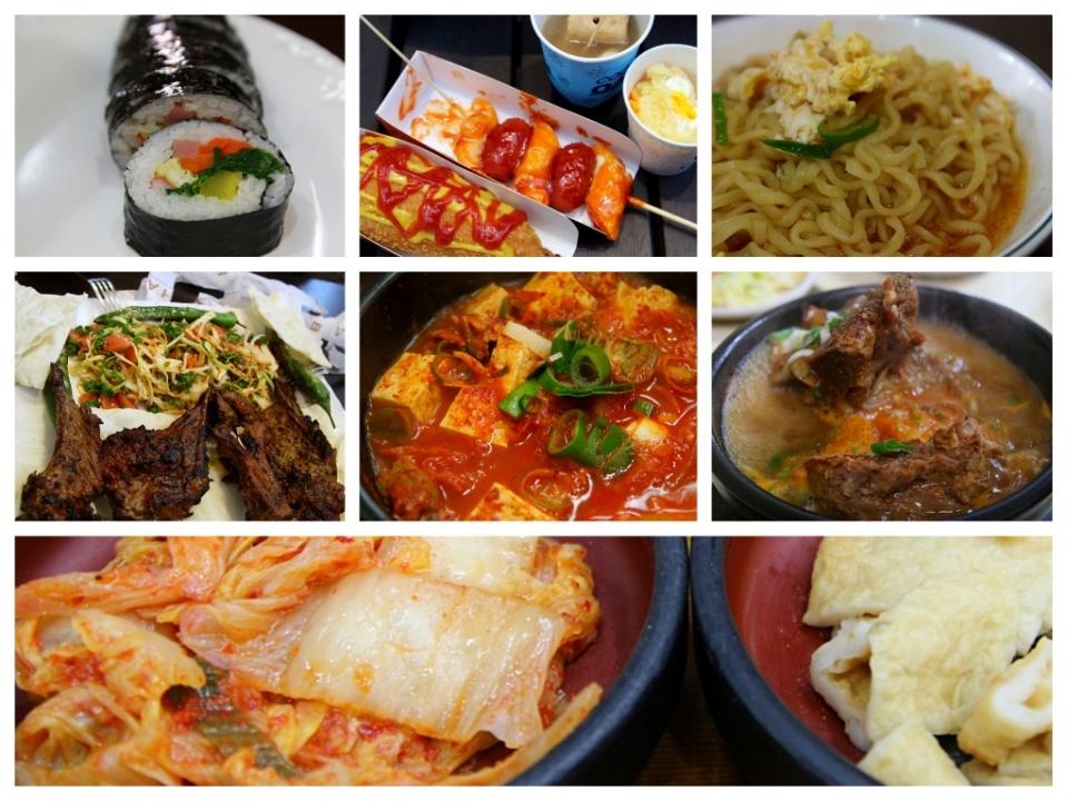 Gimbabia (riisiä merilevällä, sisällä millon mitäkin), Kioskimättöä Soulissa, Aamupalanuudelit, Lammasta kebabbilassa, Kimchijjigaeta (Kimchikeittoa), Haejanggukia (krapulakeittoa) ja vielä kerran Kimchiä.